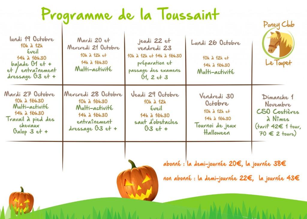 programme toussaint 2015